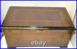 Large Antique 1880's Swiss 3 Butterfly Bells Brass Cylinder 10 Arias Music Box