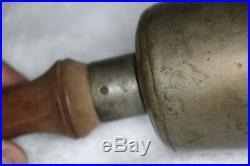 Large Antique Cast Bronze Brass School Bell 10 Tall 5 Dia Ring and Wood Handle