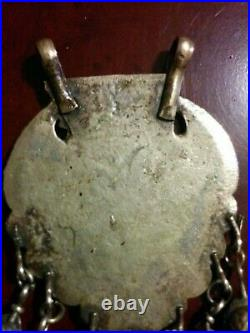 Large Antique Tribal Brass Necklace Pendant Amulet with Dangle Bells