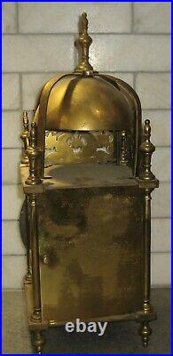 Large Antique Vincenti French Lantern Clock Brass for Parts circa 1855 Top Bell