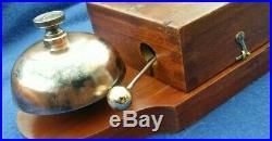 Large Antique Vintage Original Electric Door Railway Butler Bell Wood Brass