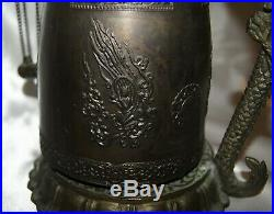 Large Chinese Tibetan Bronze Brass Dragon Bell