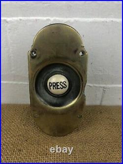 Large Impressive Antique Brass Electric Door Bell Push Press Original Button
