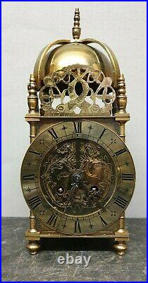 Large Quality Vintage Mechanical 8 Day Brass Lantern Clock with Bell Strike