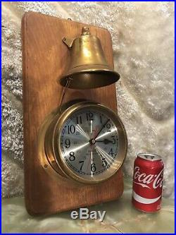 Large Vintage Ships Time Ships Bell Strikes Clock On Wall Wood Base