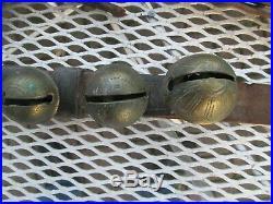 Leather Belt & 31 Primitive Antique Graduated Petal Style Brass Sleigh Bells