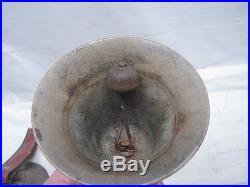 Lot 4 Antique Brass/Bronze Musical Hand Bells Strap Ringer Handbells
