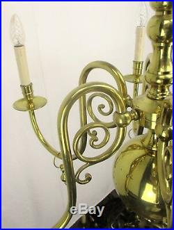 Lovely Brass Chandelier 6 Lights Arms with Gold Toned Bells Hollywood regency
