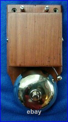 Lovely Old Vintage Original Electric Door Railway Butler Alarm Bell Wood Brass