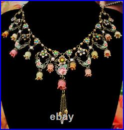 Michal Negrin Necklace Multicolor Victorian Lily Bells Beads Crystal Flowers Bib
