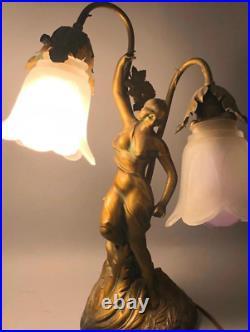 Molded Brass Antique Double Arm Art Nouveau Table Lamp 16'H