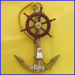 NAUTICAL MARINE NAVIGATION 24 Tall Aluminum ANCHOR Wood SHIP WHEEL Brass BELL