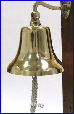 NAUTICAL Marine NAVIGATION 9 Dia Shiny Solid Brass Large SHIP BELL with BRACKET