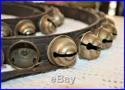 Nice Antique Acorn Style Brass or other Sleigh Bells Strand 58 Bells & 8' Strand
