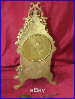 Nice French 19th Century Brass Bell Striking 8 Day Mantle Clock