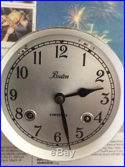 Nice Vintage Boston Chelsea Clock USA Brass Ship's Bell Clock, 5.1/2 Inch Round