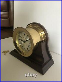 Nice Vintage Working Boston Maritime Ship Bell Clock German Movement Solid Brass