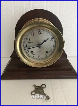 ORGINAL ANTIQUE BRASS CHELSEA SHIP SHIPS BELLS CLOCK With STAND 709962 PTS REPAIR