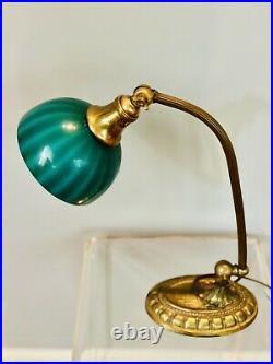 ORIG ANTIQUE EMERALITE 1920s DESK LAMP SIGNED CASED GLASS STRIPED SHADE & BASE