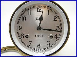 Old Brass Case Key Wind Chelsea Boston Shipstrike Ships Bell Clock & Barometer