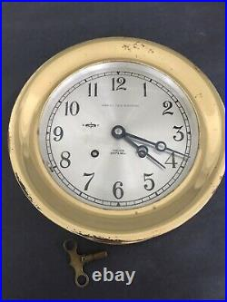 Old CHELSEA SHIP'S BELL Marshall Field RUNNING WORKING Clock 7.25 dia 5.5 Dial