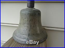 Old Vtg Antique Brass Wood Handle Teacher School Ringing Bell