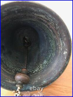 Original Antique Bronze Ships Bell And Brass Bracket Marine Maritime Nautical