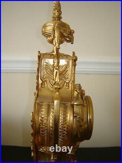 Original Antique Lancini Mantel Clock German Movement, Double bell