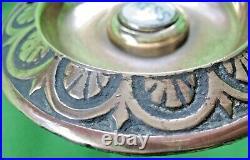 Original old antique Victorian ornate cast brass & porcelain door Bell Push