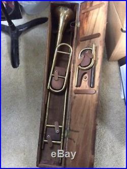 Over The Shoulder AND bell front Marked Slide Trombone in Original Case