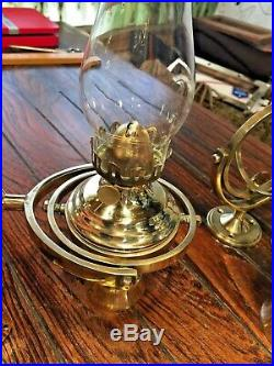 PAIR OF WEEMS & PLATH BRASS GIMBALED WALL MOUNT OIL LAMPS WithSMOKE BELLS 10TALL