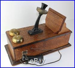 PAT 1910 Antique Quartersawn Tiger Oak Wood Wall Telephone w Brass Bells Rings