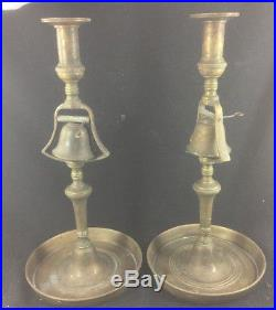 Pair Antique English Brass Tavern Candlesticks with Signal Bells 19th Century