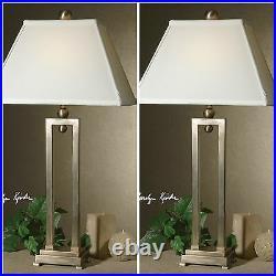 Pair Designer Urban MID Century 29 Antiqued Stain Metal Buffet Table Lamps
