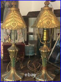 Pair of 1920's Hammered Brass-Hand Painted Boudoir Lamps