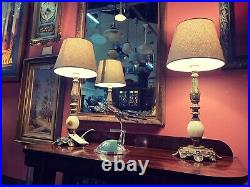 Pair of Vintage Brass & Alabaster Table Lamps