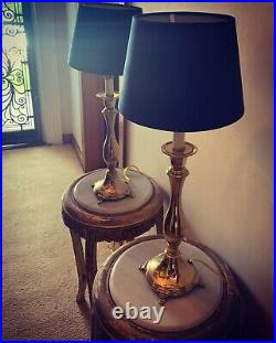 Pair of Vintage French Brass Table Lamps With Navy Velvet shades