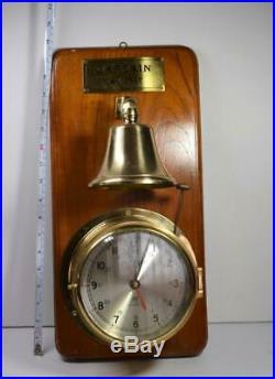 Plastimo Quartz Solid Brass Ships Bell Striking Maritime Clock w Bell works