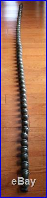 Primitive Antique 48 Brass Horse Sleigh Bells on Leather Strap 78.5 Long