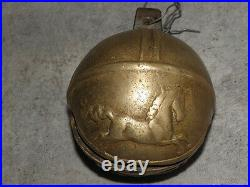 Primitive LARGE ANTIQUE BELLS HORSE Huge CARRIAGE Chime ball BRASS bronze