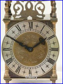 Quality Lantern Clock Solid Brass Bell Strike Mantle Mantel Carriage 9 3/4 High