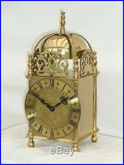 Quality Smiths Lantern Clock Solid Brass Bell Strike Mantle Carriage 91/2 High