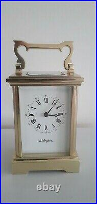 Quality Vintage Carriage Clock By Wellington Of England. Bell Strike 13 Jewels
