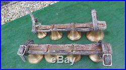 RARE ANTIQUE 2 Sets Brass HORSE Bell 4 Bells on Leather Strap for Sleigh Shaft