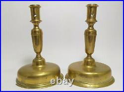 RARE Antique 17th / 18th Century SET OF 2 Brass Bell Shaped SPANISH CANDLESTICKS