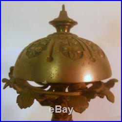 RARE Antique FRENCH Brass Desk Hotel Service BELL ATLAS carrying Bell GLOBE