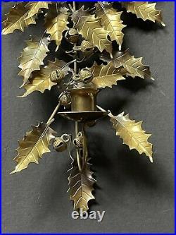 RARE! Vintage DRESDEN HOLLY Leaves BELLS CANDLE Holder Brass BOW Antique Metal