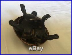 Rare Antique Brass Tortoise Clockwork Shop Desk bell. Fab Patina. Working Order