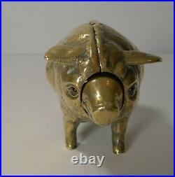 Rare Antique Cast Brass / Polished Bronze Mechanical Desk Bell Pig c. 1890