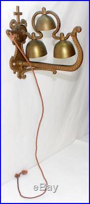 Rare Antique Church Monastery Brass Rope Pull Door Bell